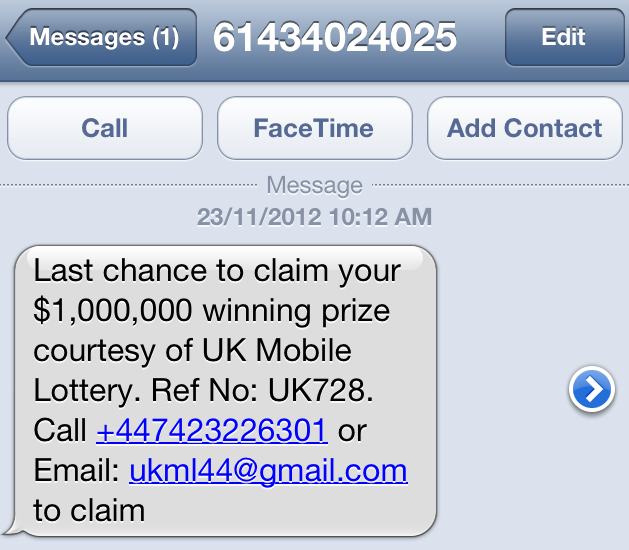 Latest Scam Text Message Last Chance To Claim Your