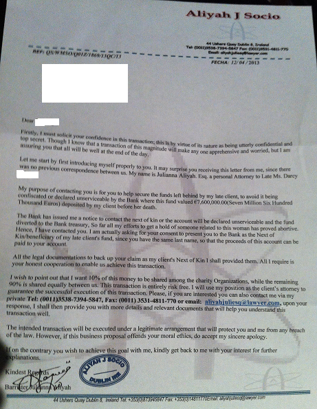 The lastest scam letter