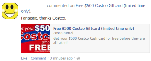 Online Investigations - facebook costco scam